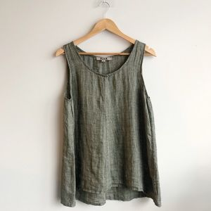 FLAX Olive Green 'I Am Supportive' Linen Tank Top